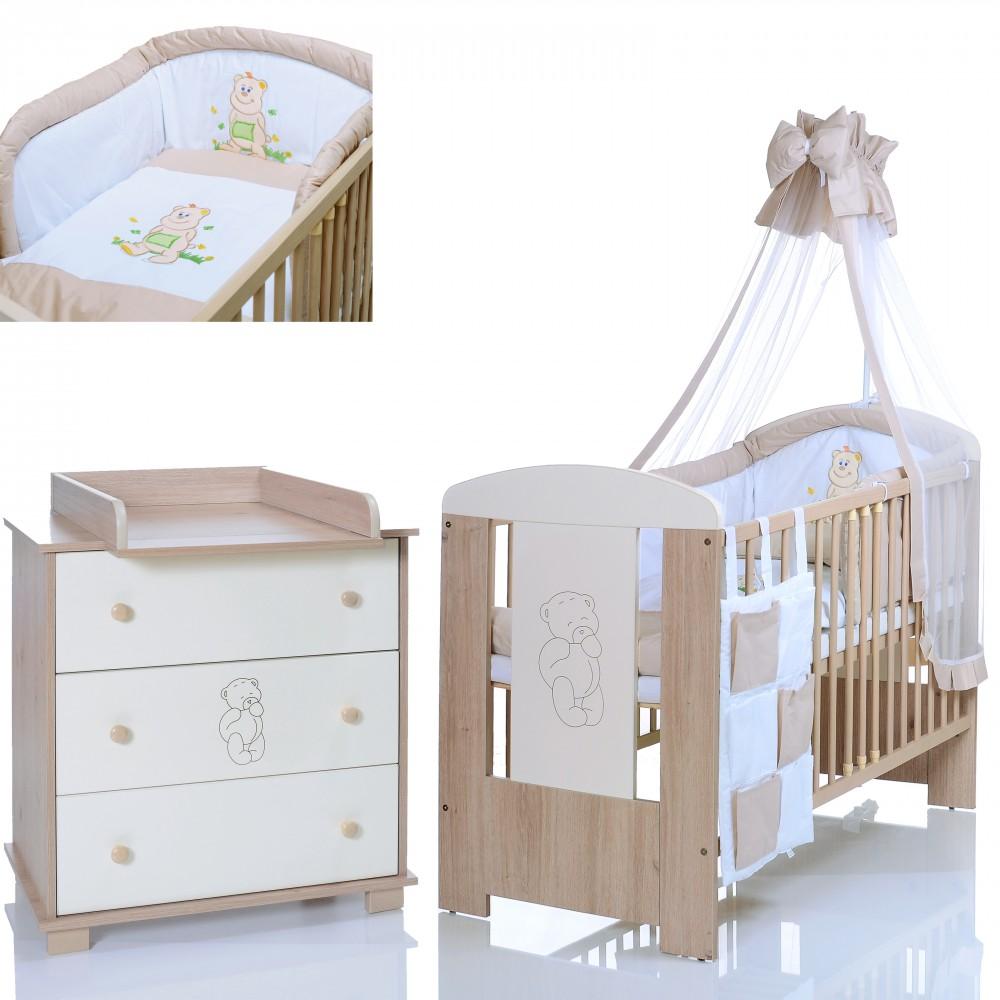 Babyzimmer Kinderzimmer Babybett Wickelkommode Weiß